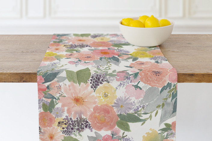 Bold Watercolor Floral Table runner