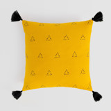 This is a yellow pillow cover by Erika Firm called Espace Triangle.