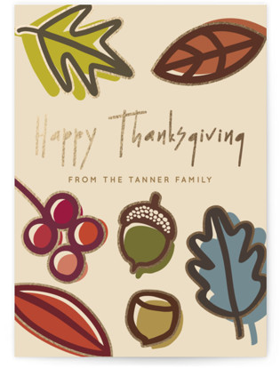 Falling Leaves Foil-Pressed Thanksgiving Cards