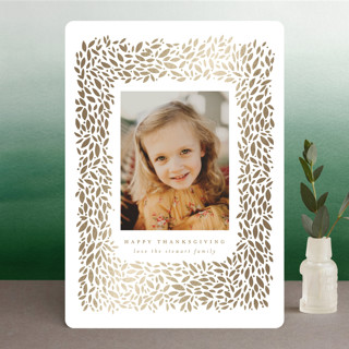 Full Wreath Foil-Pressed Thanksgiving Cards