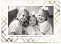 This is a white thanksgiving cards invitation by Paper Dahlia called Gilded Tartan with foil-pressed printing on smooth signature in standard.