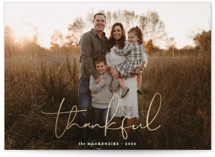 This is a white thanksgiving cards invitation by Morgan Kendall called Thankful with foil-pressed printing on smooth signature in standard.