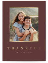 This is a brown thanksgiving cards invitation by Pixel and Hank called Simple Thankful with foil-pressed printing on smooth signature in standard.