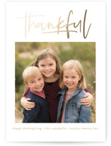 This is a yellow thanksgiving cards invitation by Susan Asbill called We Are Thankful with foil-pressed printing on smooth signature in standard.