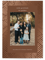This is a brown thanksgiving cards invitation by Devika Keskar called with gratitude with foil-pressed printing on smooth signature in standard.