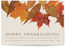 This is a brown thanksgiving cards invitation by Heather Schertzer called Gilded Autumn Leaves with foil-pressed printing on signature in standard.