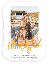 This is a orange thanksgiving cards invitation by carly reed walker called Brushed Thanks with standard printing on smooth signature in standard.