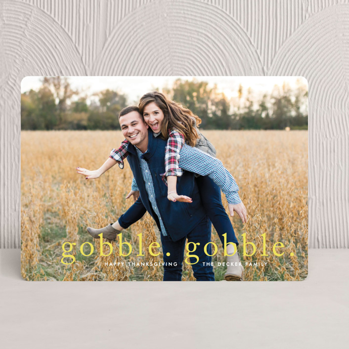 """""""Gobble Gobble"""" - Full-Bleed Photo Thanksgiving Cards in Sunshine by Fig and Cotton."""