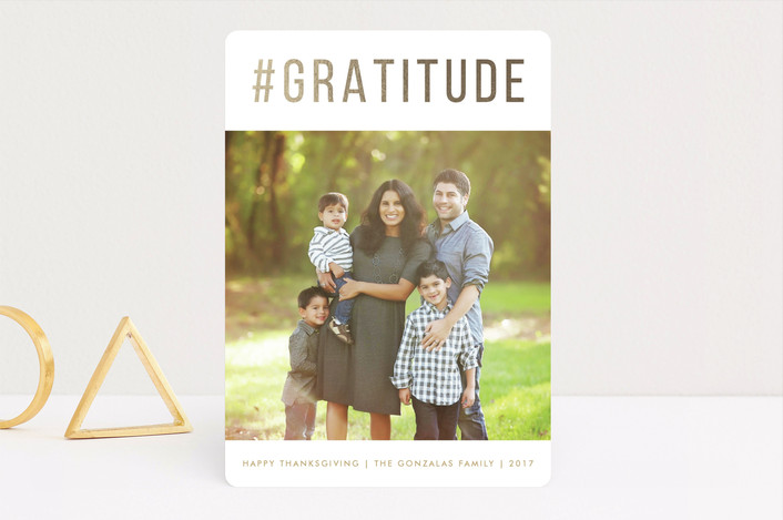 """""""Gratitude"""" - Simple, Modern Thanksgiving Cards in Golden Harvest by Susan Asbill."""