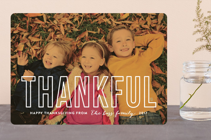"""Modern Thankful"" - Full-Bleed Photo, Modern Thanksgiving Cards in Fall Leaf by carly reed walker."