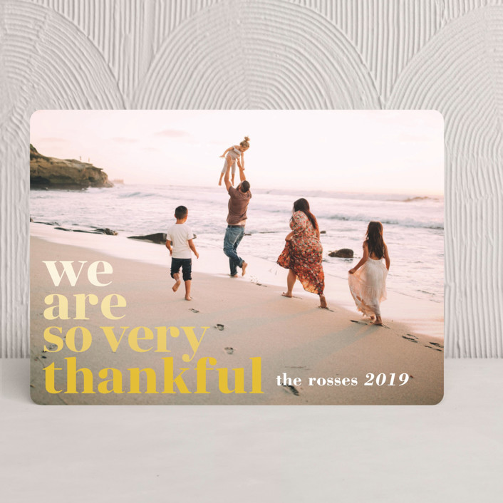 """""""Simple Thanks"""" - Simple, Full-Bleed Photo Thanksgiving Cards in Flaxen by Jody Wody."""