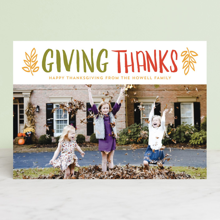 """""""Thanks"""" - Rustic Thanksgiving Cards in Clementine by lena barakat."""