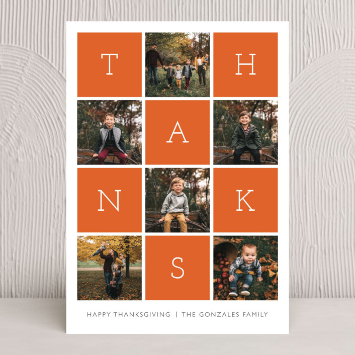 """""""Thanks Squared"""" - Modern Thanksgiving Cards in Sweet Potato by Waldo Press."""