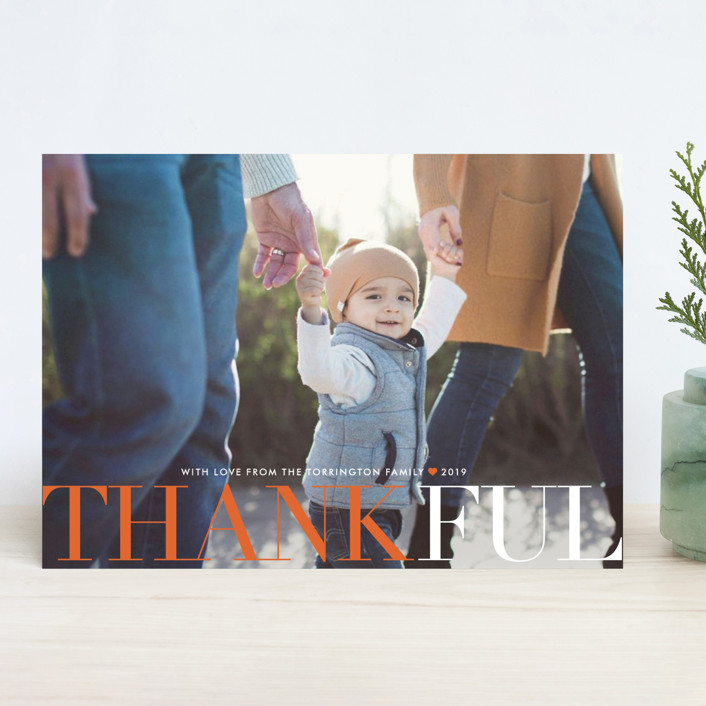 """""""Big and Merry"""" - Full-Bleed Photo Thanksgiving Cards in Squash by Carrie ONeal."""