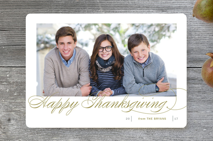 """Fresh Christmas Wishes"" - Traditional Thanksgiving Cards in Butterscotch by Kimberly FitzSimons."
