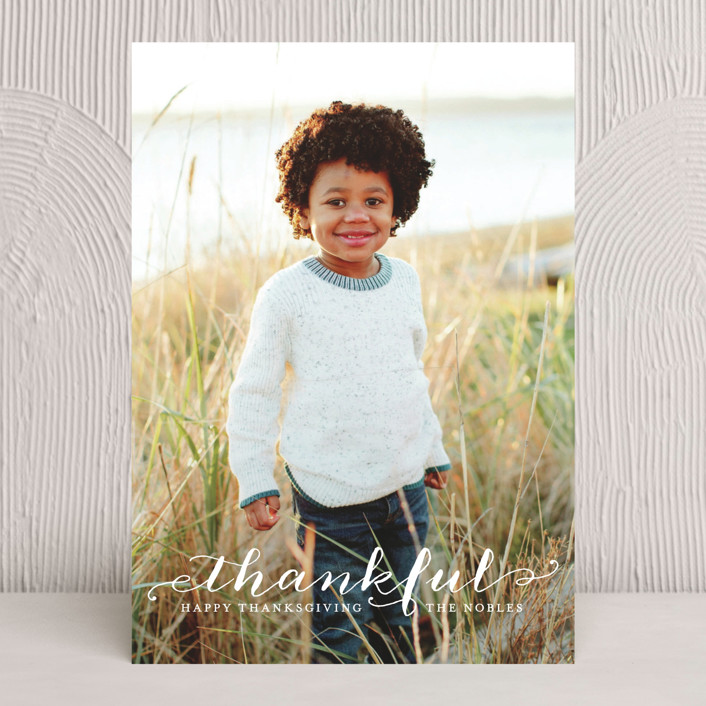 """Scripted Thanks"" - Minimalist, Full-Bleed Photo Thanksgiving Cards in White by Lauren Chism."