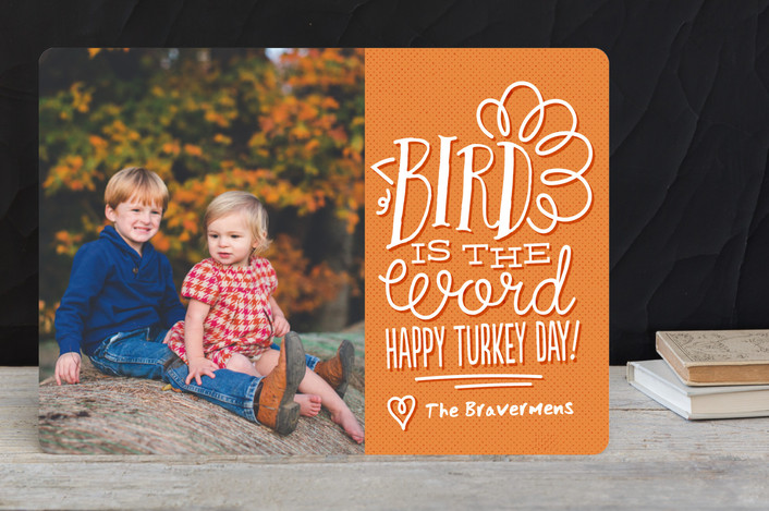 """Bird is the Word"" - Whimsical & Funny Thanksgiving Cards in Sweet Potato by Jessie Steury."