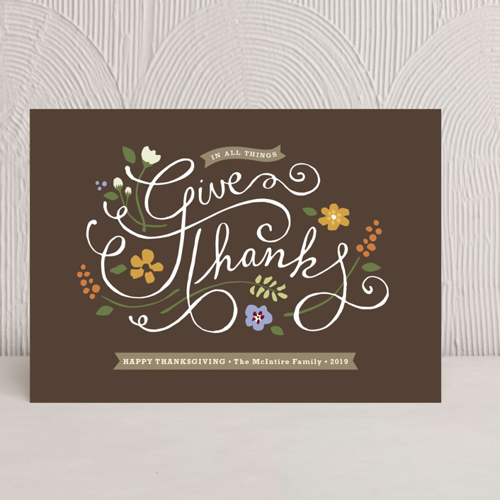 """""""In All Things"""" - Modern, Hand Drawn Thanksgiving Cards in Chocolate by Jennifer Wick."""