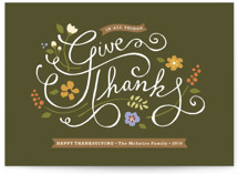This is a green thanksgiving cards invitation by Jennifer Wick called In All Things with standard printing on signature in standard.