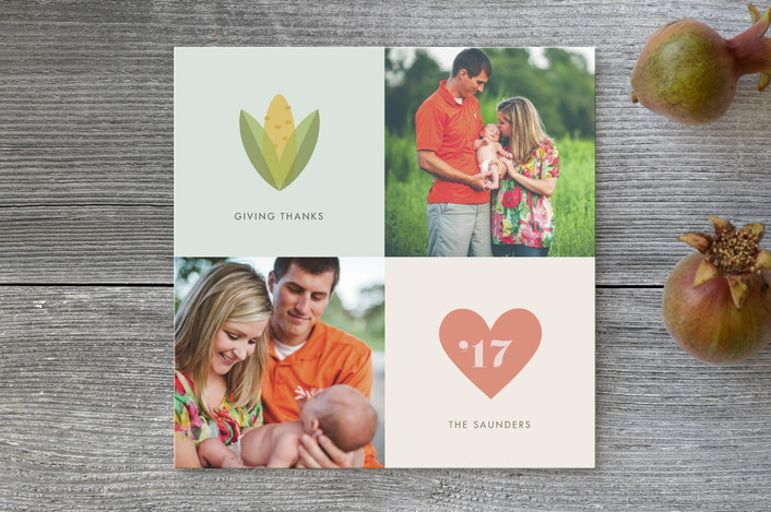"""""""Iconic"""" - Modern, Modern Thanksgiving Cards in Strawberry by nocciola design."""