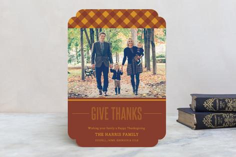 Thanks-gingham Thanksgiving Cards
