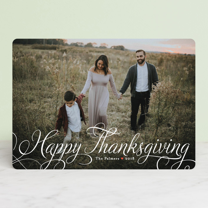 """Classic Merry"" - Classical, Full-Bleed Photo Thanksgiving Cards in Cloud by Alston Wise."