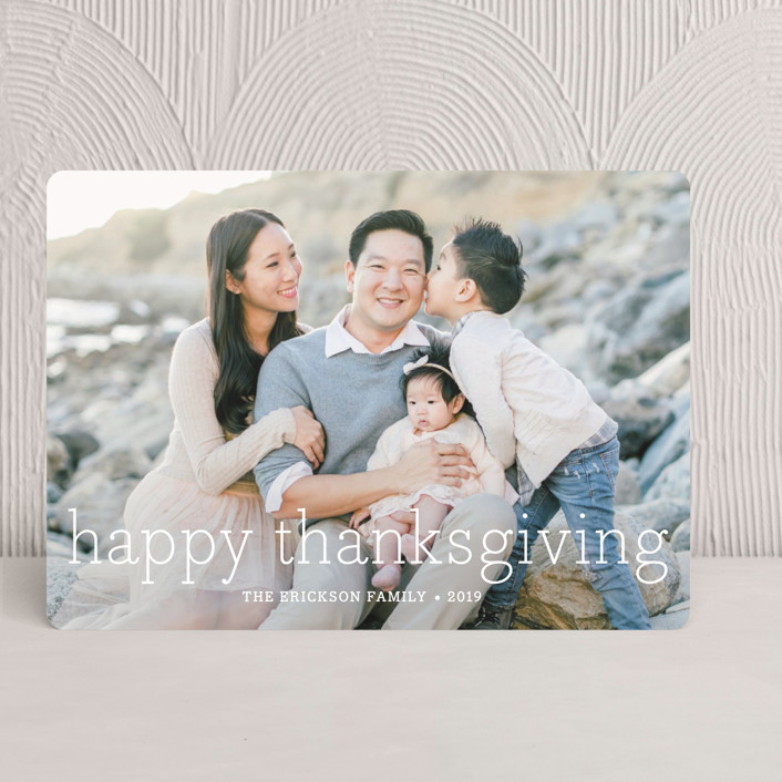 """""""Happy Everything"""" - Simple, Modern Thanksgiving Cards in White by annie clark."""