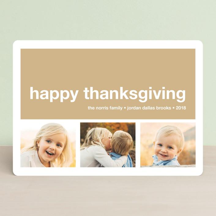 """""""Modern Joy"""" - Modern, Minimalist Thanksgiving Cards in Bark by annie clark."""