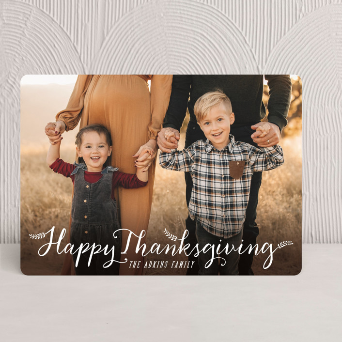"""""""Happy Thanksgiving"""" - Simple, Minimalist Thanksgiving Cards in Snowball by Hooray Creative."""