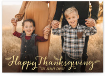 This is a yellow thanksgiving cards invitation by Hooray Creative called Happy Thanksgiving with standard printing on smooth signature in standard.