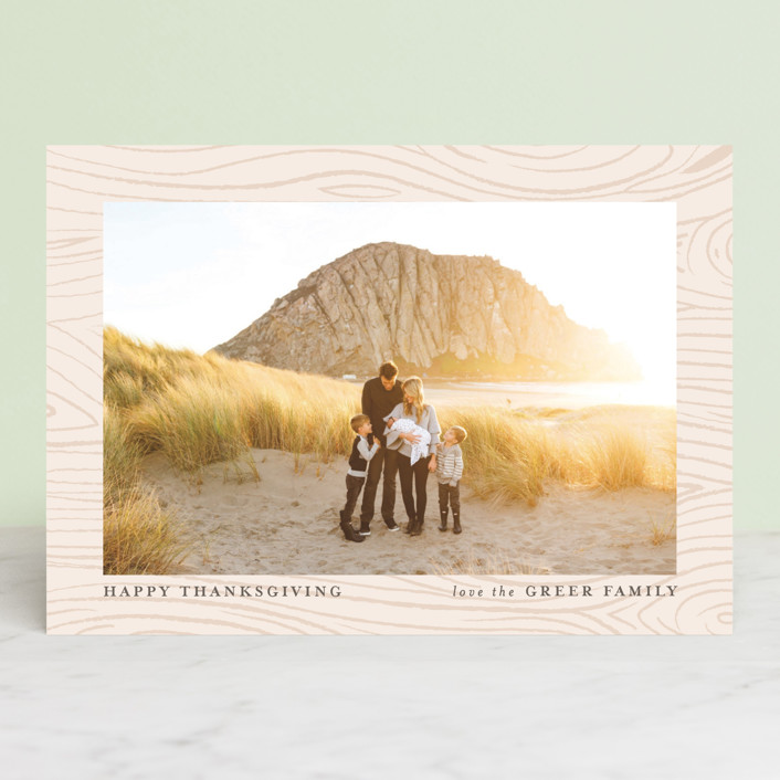"""""""Wood Print"""" - Classical, Traditional Thanksgiving Cards in Birch by Pistols."""