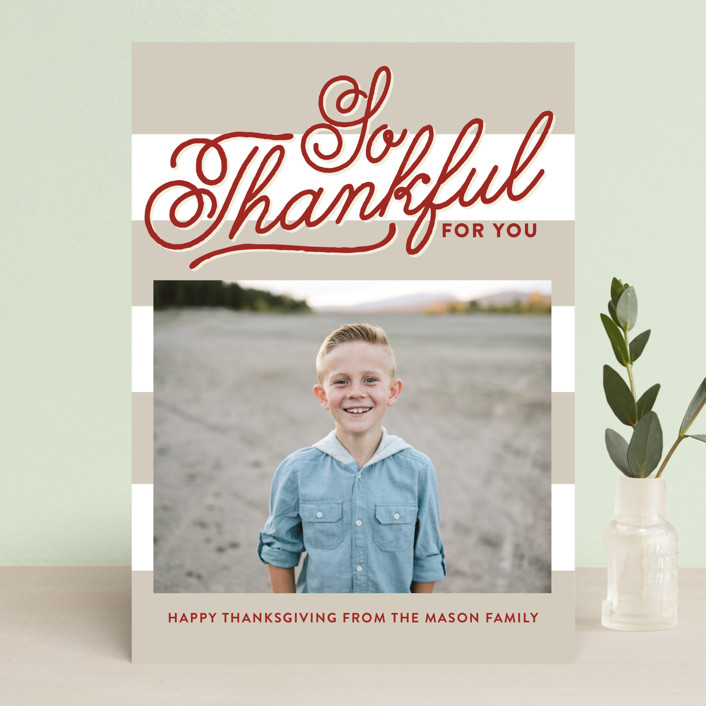 """""""Thankful"""" - Modern Thanksgiving Cards in Cranberry by The Social Type."""