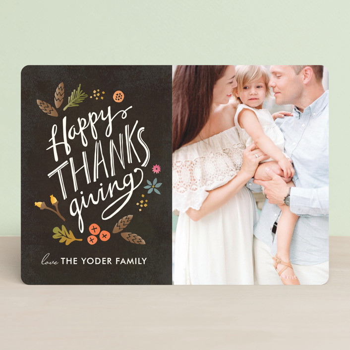 """""""Bountiful"""" - Rustic/Craft, Classical Thanksgiving Cards in Brown by Griffinbell Paper Co.."""