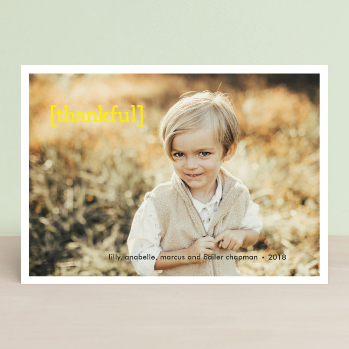 """Thankful"" - Full-Bleed Photo, Modern Thanksgiving Cards in Lemon by Sara Hicks Malone."