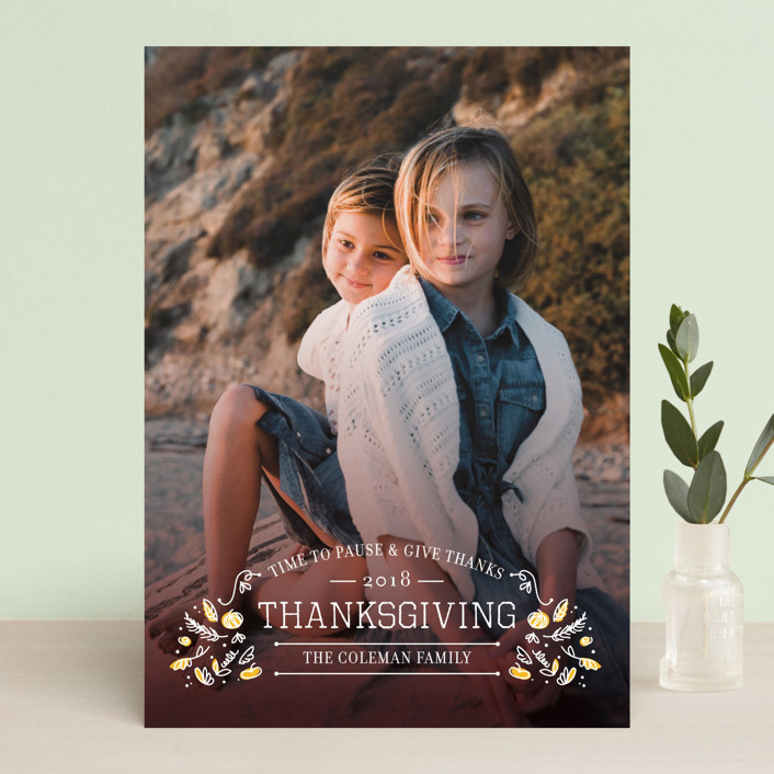 """""""Time to Pause"""" - Full-Bleed Photo, Classical Thanksgiving Cards in Burgundy by sweet street gals."""