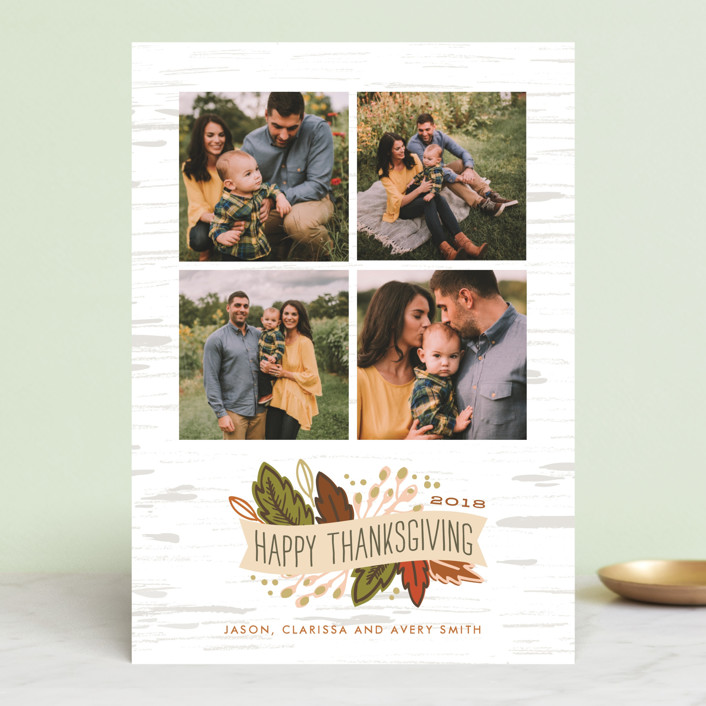 """""""Birch Thanksgiving Banner"""" - Classical Thanksgiving Cards in Pumpkin by Alethea and Ruth."""