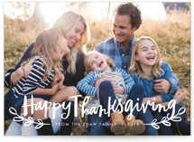This is a white thanksgiving cards invitation by Alethea and Ruth called Happy Thanksgiving Script with standard printing on smooth signature in standard.