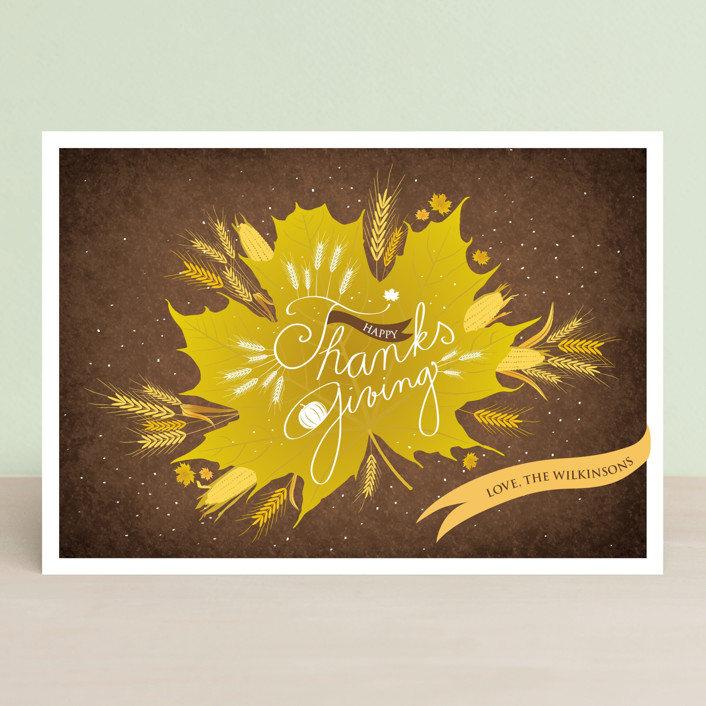 """Thanksgiving Leaf"" - Floral & Botanical, Rustic/Craft Thanksgiving Cards in Maple Syrup by Tereza Šašinková Lukášová."