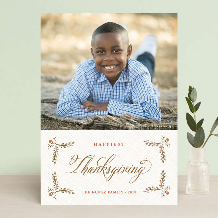 """""""Burlap Label"""" - Classical, Traditional Thanksgiving Cards in Brass by Aspacia Kusulas."""