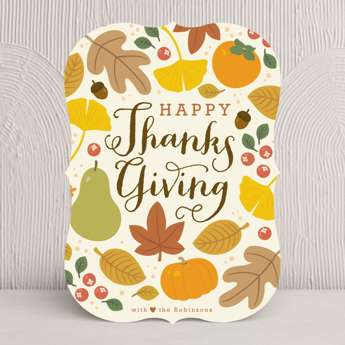 """""""Autumn Leaves"""" - Modern Thanksgiving Cards in Harvest by Four Wet Feet Studio."""