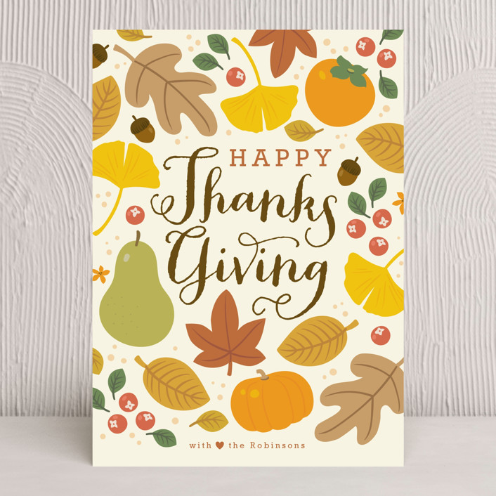 """Autumn Leaves"" - Modern Thanksgiving Cards in Harvest by Four Wet Feet Studio."