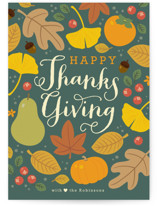 This is a blue thanksgiving cards invitation by Four Wet Feet Studio called Autumn Leaves with standard printing on signature in standard.