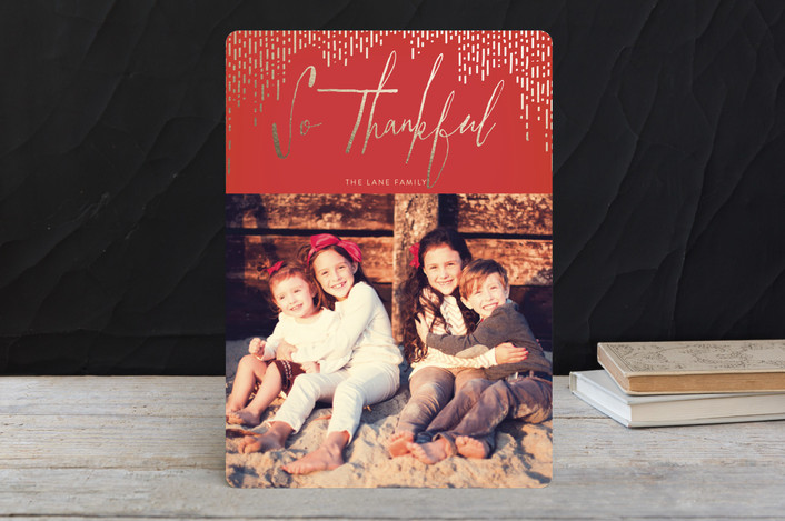 """""""Gilded Thanks"""" - Modern Thanksgiving Cards in Fall Leaf by Guess What Design Studio."""