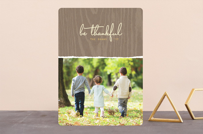"""""""Be Thankful"""" - Simple Thanksgiving Cards in Chestnut by Hooray Creative."""