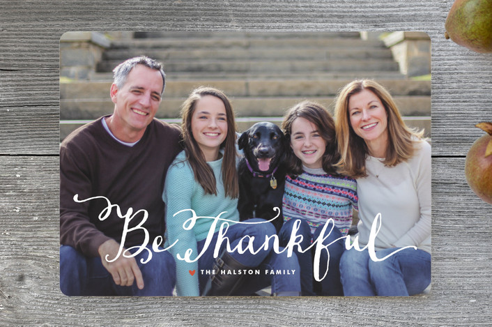 """So Thankful"" - Full-Bleed Photo Thanksgiving Cards in Marshmallow by Lauren Chism."