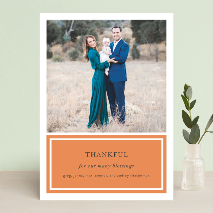 """""""Framed Gratitude"""" - Classical, Traditional Thanksgiving Cards in Pumpkin by Sara Hicks Malone."""