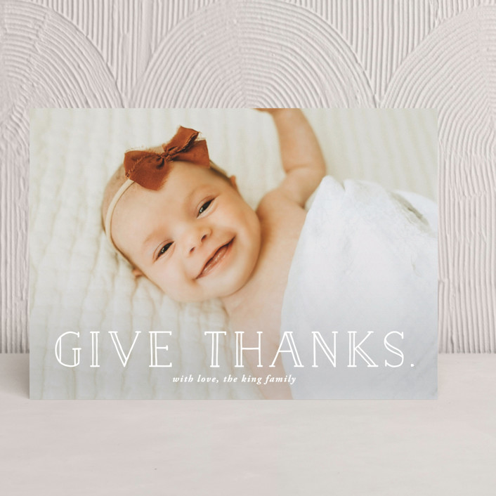 """The Season To Give Thanks"" - Full-Bleed Photo, Modern Thanksgiving Cards in Icy by SimpleTe Design."