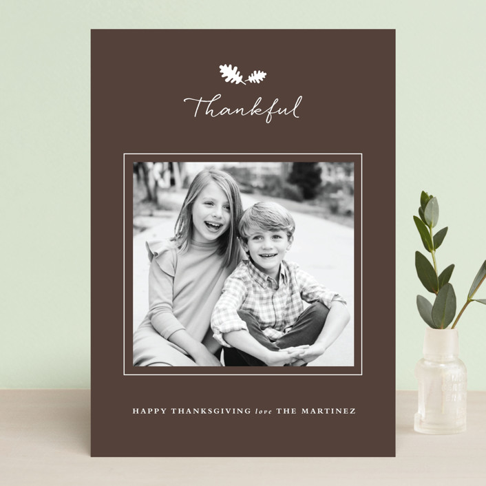 """""""Framed Thanks"""" - Classical, Traditional Thanksgiving Cards in Chocolate by Stacey Meacham."""