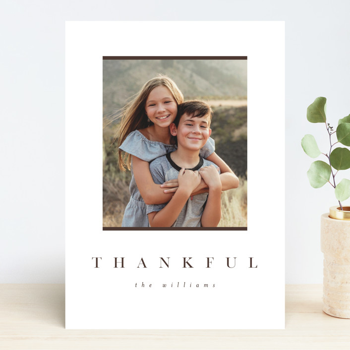 """Simple Thankful"" - Thanksgiving Cards in Cinnamon by Pixel and Hank."