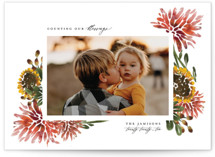 This is a red thanksgiving cards invitation by Grae Sales called Autumn Florals with standard printing on smooth signature in standard.